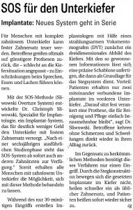 SOS Artikel in Bergsträsser Anzeiger, Mai 2012
